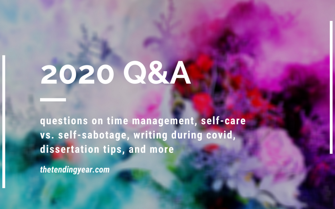 2020 Q&A: Writing, Time Management, Self-Care